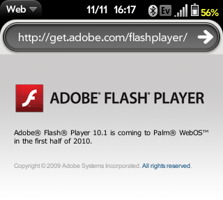 WebOS to get Flash 10.1 in early 2010